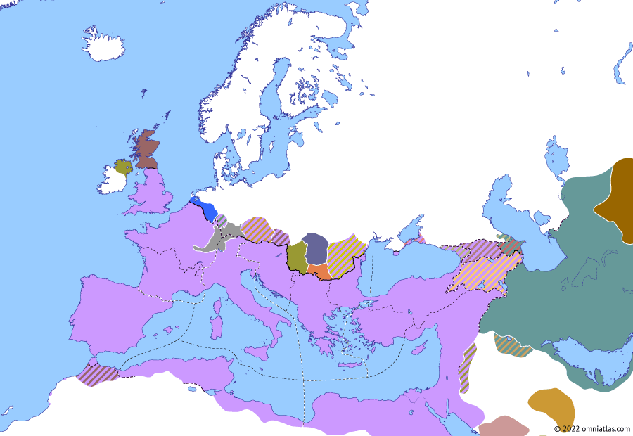 Political map of Europe & the Mediterranean on 20 Feb 302 (Diocletian and the Tetrarchy: Battle of Lingones), showing the following events: Peace of Nisibis; End of the Bastarnae; Galerius' Marcomannic Campaign; Conversion of Tiridates III; Edict on Maximum Prices; Danubian War of 302–4; Battle of Lingones.