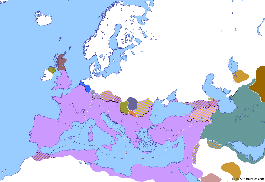 Political map of Europe & the Mediterranean on 01 May 305 (Diocletian and the Tetrarchy: Second Tetrarchy), showing the following events: Battle of Vindonissa; Great Persecution; Arsacid Albania; Afrighid Kingdom; Second Tetrarchy; Reign of Galerius.