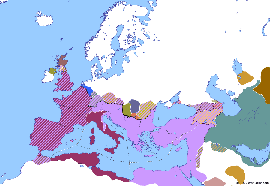 Political map of Europe & the Mediterranean on 21 Nov 307 (Diocletian and the Tetrarchy: Galerius vs Maxentius), showing the following events: Maxentian Revolt; Severus II vs Maxentius; Return of Maximian; Galerius vs Maxentius; Constantine and Fausta.