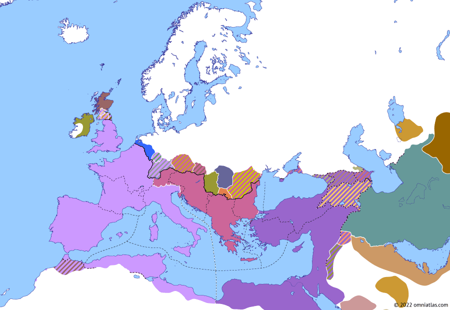 Political map of Europe & the Mediterranean on 30 Apr 313 (The Constantinian Dynasty: Battle of Tzirallum), showing the following events: Reign of Constantine the Great; Death of Diocletian; Licinius and Constantia; Battle of Tzirallum.