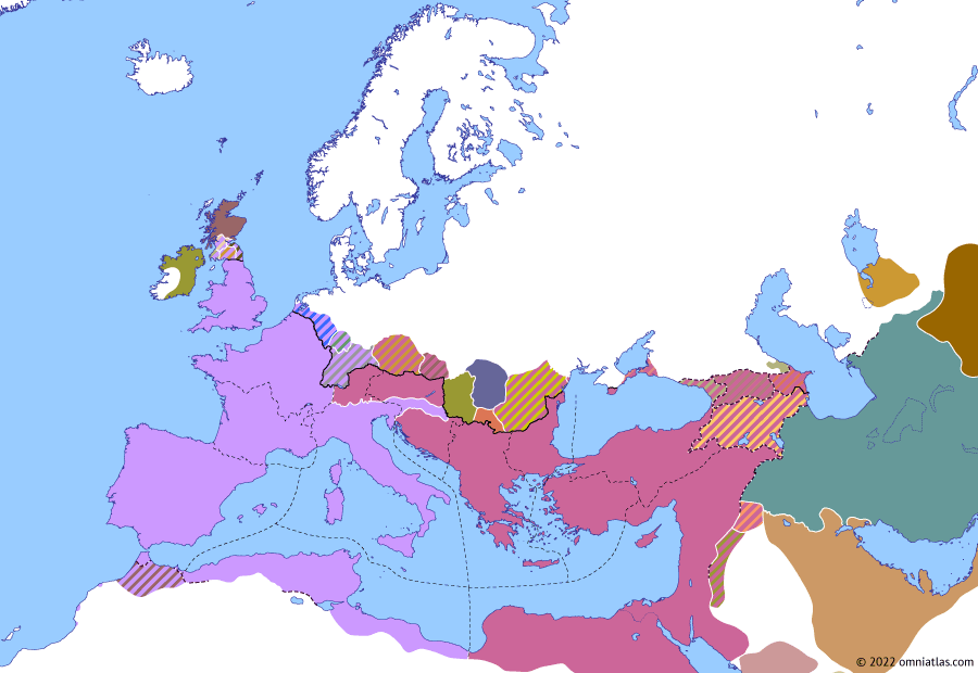 """Political map of Europe & the Mediterranean on 08 Oct 316 (The Constantinian Dynasty: Battle of Cibalae), showing the following events: Edict of Tarsus; """"Edict of Milan""""; Constantine's Third Rhenish War; Death of Maximinus Daza; Licinius' Gothic campaign; Conspiracy of Bassianus; Battle of Cibalae."""