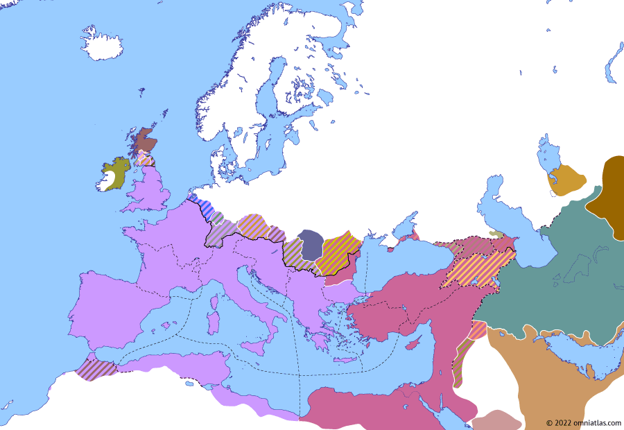 Political map of Europe & the Mediterranean on 18 Sep 324 (The Constantinian Dynasty: Battle of Chrysopolis), showing the following events: Battle of Adrianople; Siege of Byzantium; Battle of the Hellespont; Battle of Chrysopolis.
