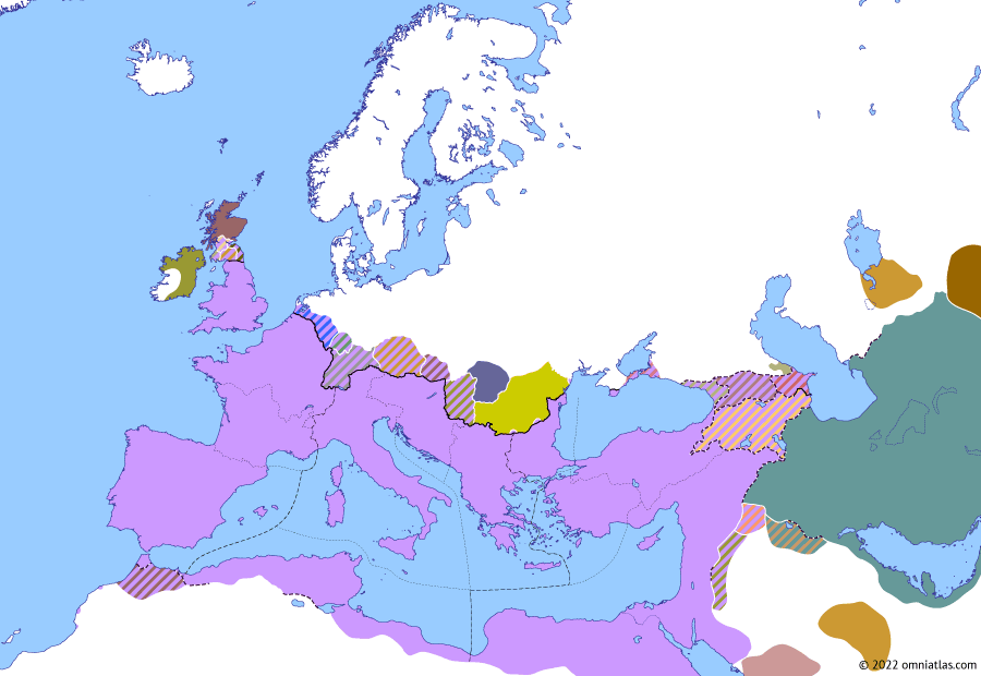 Political map of Europe & the Mediterranean on 11 May 330 (The Constantinian Dynasty: Foundation of Constantinople), showing the following events: Foundation of Constantinople; Shapur II's Arab Wars; First Council of Nicaea; Deaths of Crispus and Fausta; Praetorian Prefectures; Constantine's Second Gothic War; Constantine's Fourth Rhenish campaign; Shapur II's First Kushan War; Constantine II's Alemannic campaign.