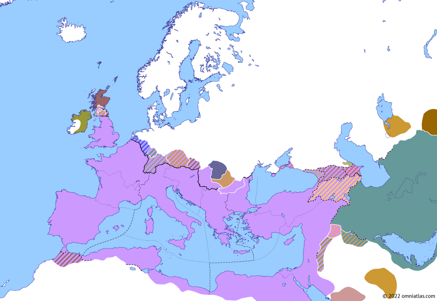 Political map of Europe & the Mediterranean on 27 Dec 332 (The Constantinian Dynasty: Roman Gothia), showing the following events: Constantine's Third Gothic War; Roman Gothia.