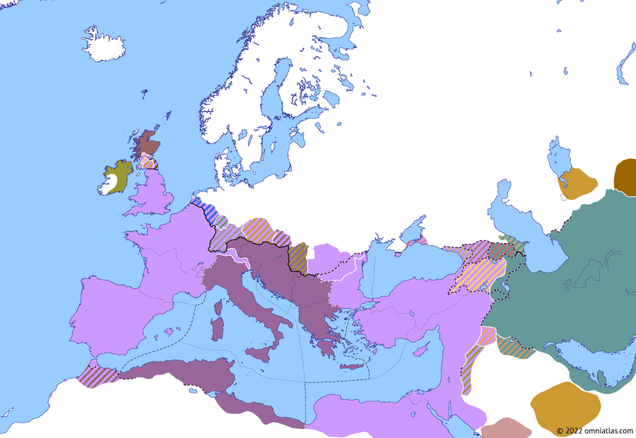 Political map of Europe & the Mediterranean on 12 Apr 340 (The Constantinian Dynasty: Battle of Aquileia), showing the following events: Constantine II's German Campaign; Restoration of Khosrov the Small; Constans' Sarmatian Campaign; Battle of Aquileia.