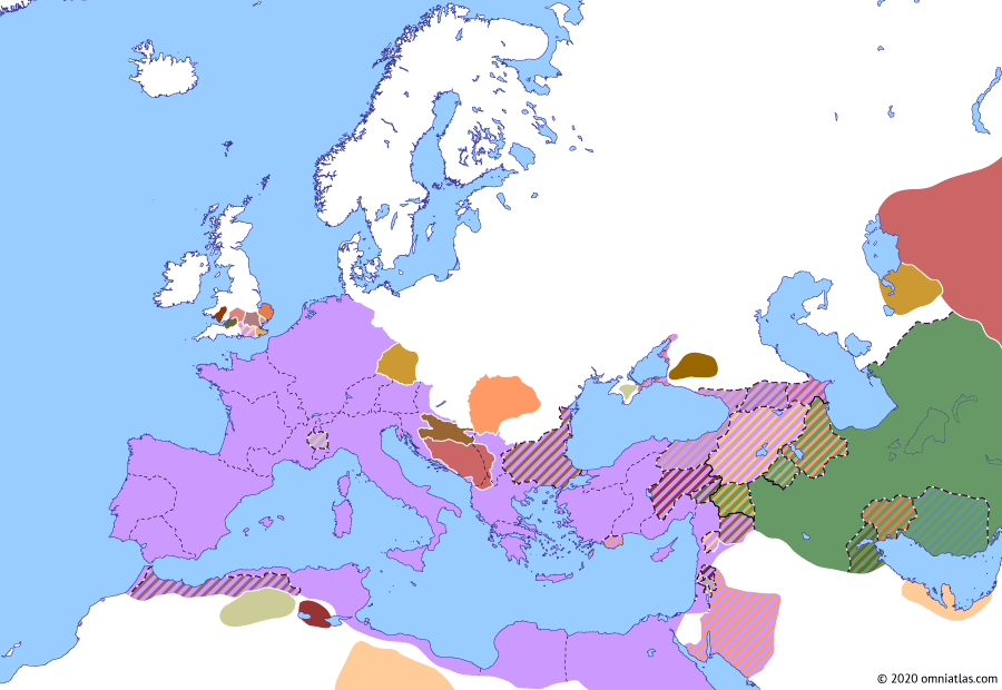 Political map of Europe & the Mediterranean on 31 Dec 6 AD (The Julio-Claudian Dynasty: Tiberius' Campaigns in Germania), showing the following events: Tiberius' Campaigns in Germania; Gaius–Phraates Treaty; Gaetulian War; Province of Moesia; Great Illyrian Revolt; Roman Judea.