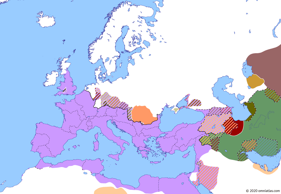 Political map of Europe & the Mediterranean on 24 Oct 79 AD (The Flavian Dynasty: Agri Decumates), showing the following events: Agri Decumates; Limes Tripolitanus; Vespasian's Caucasus Expedition; Parthian Civil War of 78–80; Principate of Titus; Destruction of Pompeii.