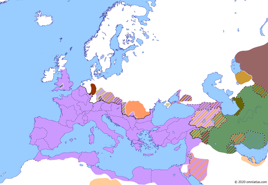 Political map of Europe & the Mediterranean on 29 Aug 88 AD (The Flavian Dynasty: Domitian's Dacian War), showing the following events: Revolt of the Nasamones; Domitian's Dacian War; Upper and Lower Moesia; Reign of Decebalus; Chatti–Cherusci War.