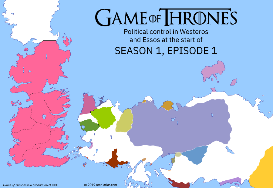 Political map of Game of Thrones on ? ?? 100 AD (Game of Thrones: Winter is Coming), showing the following events: Drogo and Daenerys; Ned Stark as Hand of King.