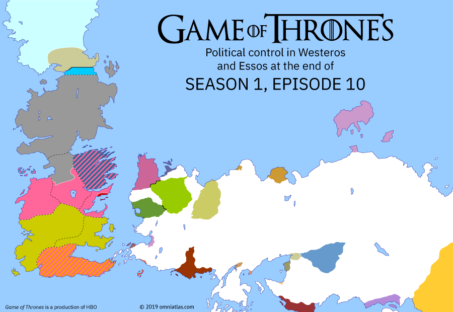 Political map of Game of Thrones on ? ?? 110 (Game of Thrones: Fire and Blood), showing the following events: Death of Robert Baratheon; Execution of Ned Stark; Death of Khal Drogo; Mother of Dragons.