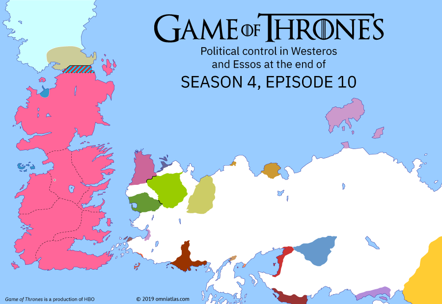 Political map of Game of Thrones on ? ?? 410 (Game of Thrones: The Children), showing the following events: Purple Wedding; Siege of Meereen; Battle of Castle Black; Death of Tywin Lannister.