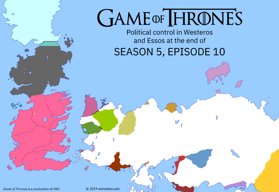 Political map of Game of Thrones on ? ?? 510 (Game of Thrones: Mother's Mercy), showing the following events: Sons of the Harpy; High Sparrow; Ramsay and Sansa; Massacre at Hardhome; Battle of Winterfell.
