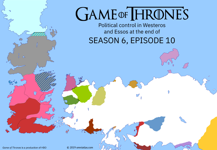 Political map of Game of Thrones on ? ?? 610 (Game of Thrones: The Winds of Winter), showing the following events: Battle of the Bastards; Daenerys departs for Westeros; Destruction of the Great Sept of Baelor.