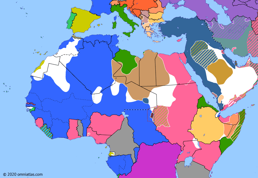 Political map of Northern Africa on 14 Mar 1913 (Scramble for Africa: French invasion of the Tibesti), showing the following events: Ottoman evacuation of Tibesti; Italian invasion of the Dodecanese; First Balkan War; Treaty of Ouchy; Spanish Morocco; French invasion of the Tibesti.