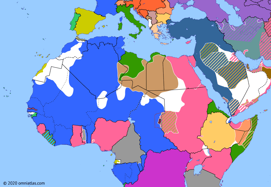 Political map of Northern Africa on 21 Aug 1914 (World War I in Northern Africa: Togoland Campaign), showing the following events: Allied invasion of Kamerun; Togoland Campaign; Invasion of East Africa Protectorate.