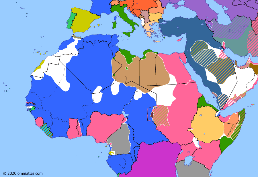 Political map of Northern Africa on 29 Oct 1914 (World War I in Northern Africa: Ottoman Entry into WWI), showing the following events: Siege of Mora; Miracle of the Marne; British occupation of Abadan; Battle of Zanzibar; Ottoman entry into World War I.