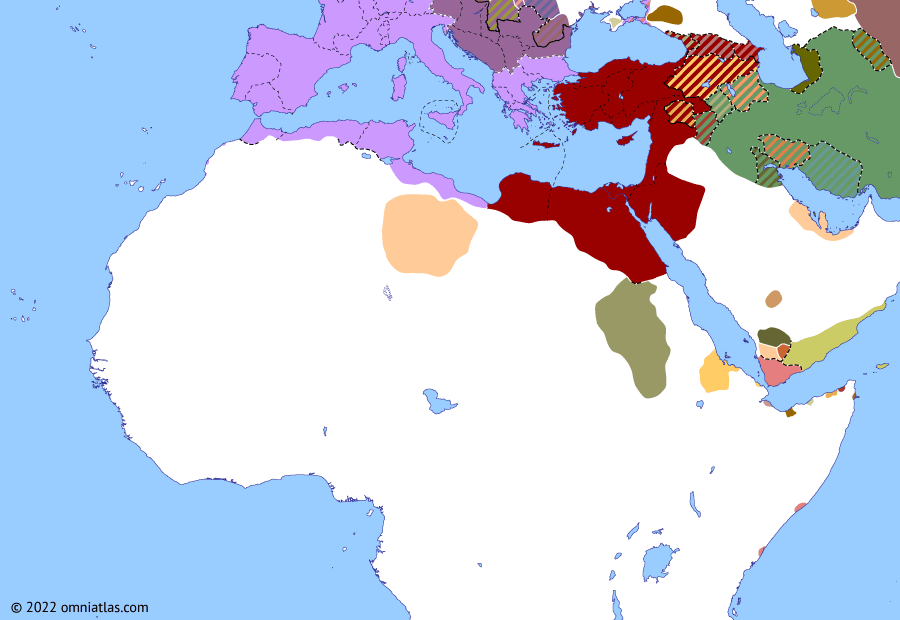 Political map of Northern Africa on 19 Apr 193 (Rome and Northern Africa: Year of Five Emperors), showing the following events: Bucolic War; Avidius Cassius' Revolt; Mauri War of 177; Principate of Didius Julianus; Pescennius Niger; Septimius Severus.