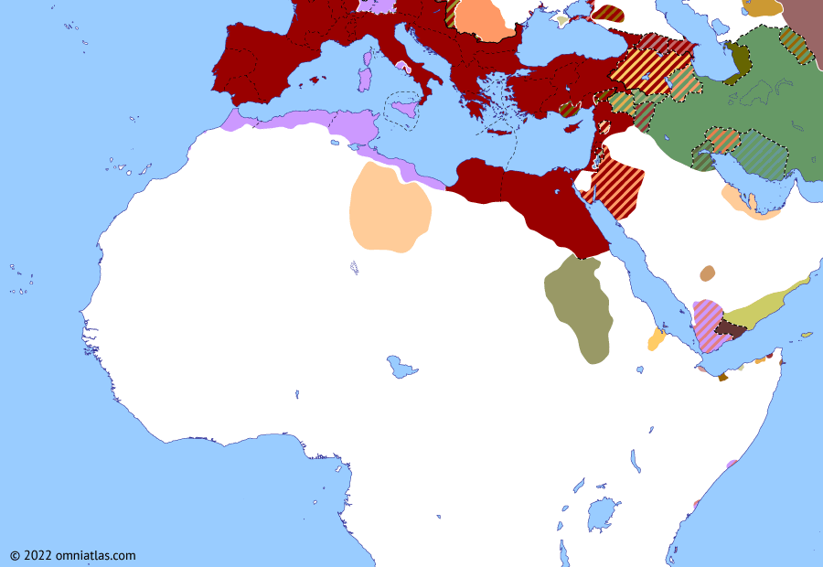 Political map of Northern Africa on 20 Dec 69 AD (Rome and Northern Africa: Year of Four Emperors), showing the following events: Overthrow of Nero; Principate of Otho; Principate of Vitellius; Flavian Revolt; Fall of Vitellius.