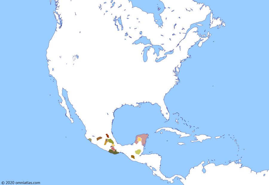 Political map of North America & the Caribbean on 02 Jan 1441 (Late Pre-Columbian Era: Collapse of the League of Mayapan), showing the following events: Reign of Moctezuma I; Collapse of the League of Mayapan.