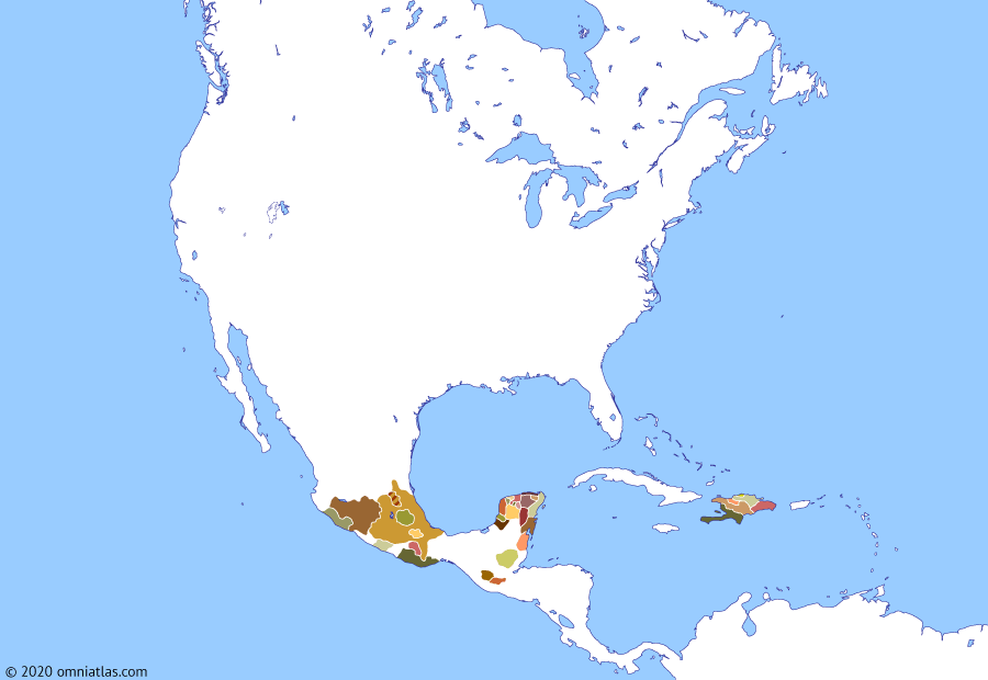 Political map of North America & the Caribbean 6 January 1494 (Columbus' second voyage): Impressed by his reports, Ferdinand (Ferdinand II of Aragon) and Isabella (Isabella I of Castile) sent Columbus (Christopher Columbus) back to the New World in September 1493, this time with a much larger fleet of 17 ships. Arriving back on Hispaniola only to discover La Navidad had been destroyed in a clash with the Taíno, Columbus founded the town of La Isabela nearby, hoping to profit from goldfields he believed lay inland. Columbus then explored the Caribbean, unsuccessfully trying to find access to China—which he remained convinced was nearby (Voyages of Christopher Columbus).