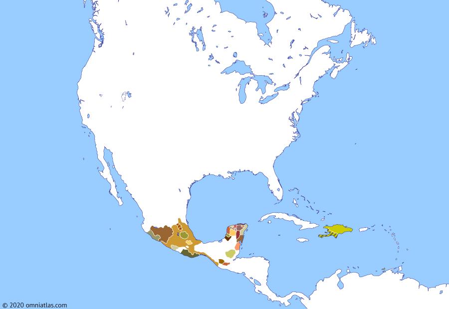 Political map of North America & the Caribbean on 07 Jan 1503 (The Age of Columbus: First Spanish attempts on the Mainland), showing the following events: Rodrigo de Bastidas' voyage; African slavery in Santo Domingo; Puerto de las Perlas; Coquivacoa Governorate; Columbus' fourth voyage; Reign of Moctezuma II; Santa María de Belén.