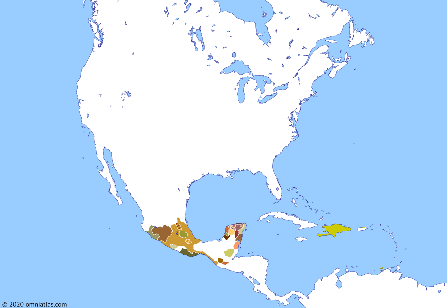 Political map of North America & the Caribbean on 08 Aug 1508 (The Age of Columbus: Colonization of Puerto Rico), showing the following events: Jaragua massacre; Discovery of Bermuda; Waldseemüller map; Ocampo's expedition; Sebastian Cabot's North-West expedition; Pinzón and Solís expedition; Caparra settlement.