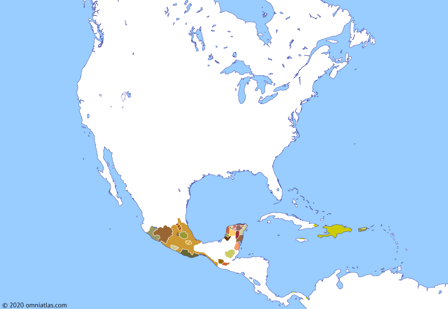 Political map of North America & the Caribbean 15 August 1511 (Spanish expansion in the Caribbean): Following their colonization of Puerto Rico (1508), the Spanish began the settlement of the other two large islands neighboring Hispaniola: Santiago (Jamaica) in 1509 (Colony of Santiago) and Cuba in 1511 (Governorate of Cuba). Meanwhile, in 1510, Spanish attempts on the mainland finally produced two lasting colonies, at Santa María la Antigua del Darién and Nombre de Dios (Nombre de Dios, Colón) (both on the Isthmus of Panama).