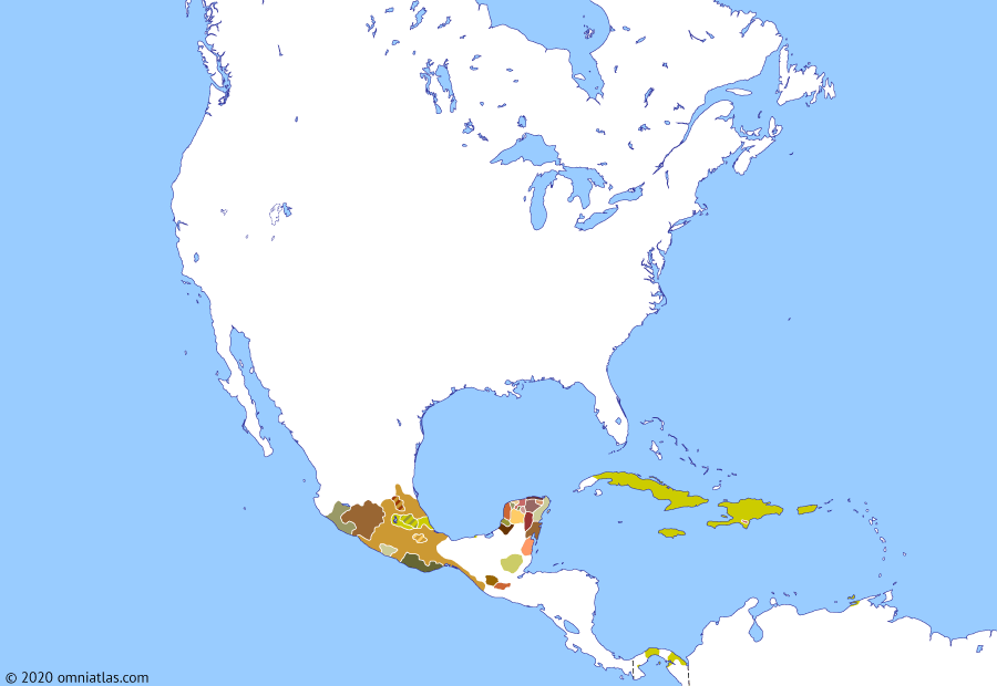 Political map of North America & the Caribbean on 13 Aug 1521 (The Conquistadors: Fall of Tenochtitlan), showing the following events: Reign of Cuitláhuac; La Noche Triste; Battle of Otumba; Lake Texcoco campaign; Reign of Cuauhtémoc; Ponce de León's last expedition; Fall of Tenochtitlan.