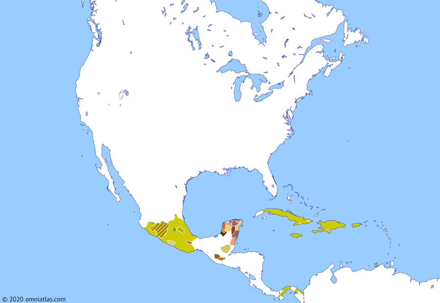 Political map of North America & the Caribbean on 25 Jul 1523 (The Conquistadors: Spanish Consolidation in Mexico), showing the following events: Guamá's War; González Dávila's expedition; Conquest of Tututepec; Conquest of Metztitlan; Capitulation of Michoacán; Conquest of Colima.