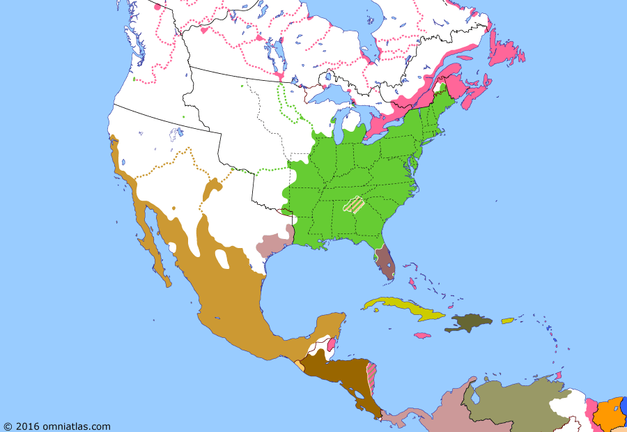 Political map of North America & the Caribbean on 28 Dec 1835 (Successors of New Spain: Second Seminole War), showing the following events: Chicakasaw removal; Force Bill; Plan of Cuernavaca; Emancipation Day; Zacatecas Rebellion of 1835; Battle of Gonzales; Dade Massacre.