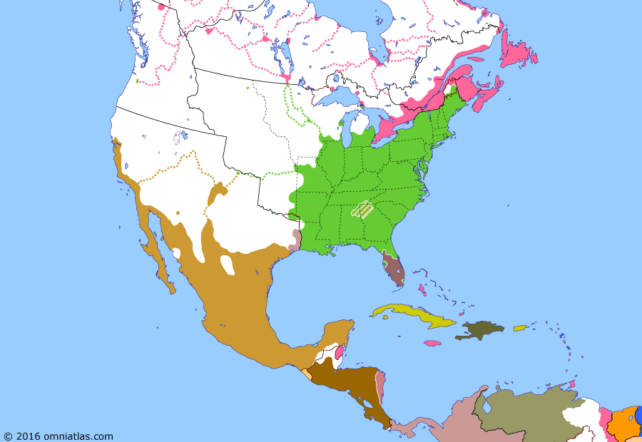 Political map of North America & the Caribbean on 21 Apr 1836 (Successors of New Spain: Texas Revolution), showing the following events: Cherokee removal; Battle of the Alamo; Texas Declaration of Independence; Goliad Massacre; Battle of San Jacinto.