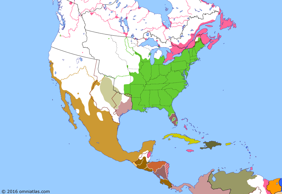 Political map of North America & the Caribbean on 26 Oct 1838 (Successors of New Spain: Fragmentation of Central America), showing the following events: Republic of Canada; Patriot War; Independence of Los Altos; Nicaraguan Independence; Iowa Territory formed; Cordova Rebellion; Texan Cherokee War; Honduran Independence.
