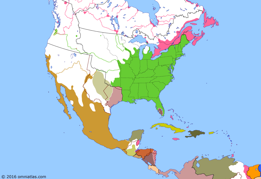 Political map of North America & the Caribbean on 02 Oct 1843 (Manifest Destiny: Oregon Dispute), showing the following events: Jones's War; Webster-Ashburton Treaty; Mier Expedition; Construction of Fort Victoria; Santo Tomás Colony; Naval Battle of Campeche; Creation of Provisional Government of Oregon; Great Migration of 1843.