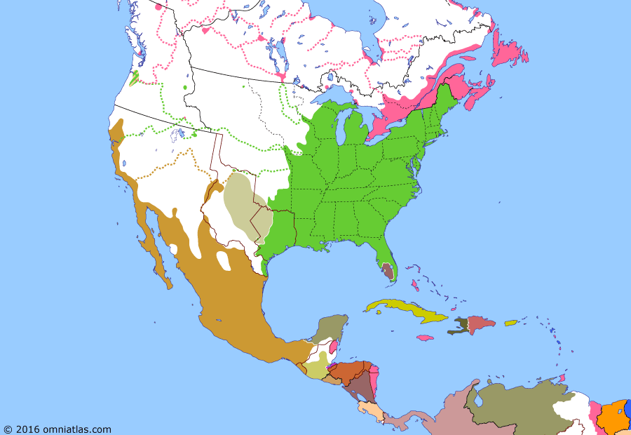 Political map of North America & the Caribbean 13 May 1846 (Outbreak of the Mexican–American War): With the annexation of Texas, the US inherited that state's boundary dispute with Mexico. In a bid to settle the issue, as well as purchase the Mexican territories of Alta California and New Mexico (Santa Fe de Nuevo Mexico), President Polk (James K. Polk) offered to pay $25 million and forgive damages caused to US citizens in Mexico since independence (Mexican War of Independence). The Mexican government refused, prompting Polk to order troops to occupy the disputed land north of the Rio Grande (Nueces Strip). When Mexico responded by attacking this Army of Occupation (Thornton Affair), the US declared war (Mexican-American War).