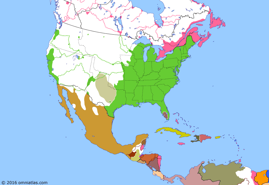 Political map of North America & the Caribbean on 11 Feb 1849 (Manifest Destiny: California Gold Rush), showing the following events: California Gold Rush; Yucatan Bill; Mexico ratifies Guadalupe Hidalgo; Wisconsin becomes US state; Oregon Territory organized; End of the Republic of Yucatan; Los Altos independent; Colony of Vancouver Island.