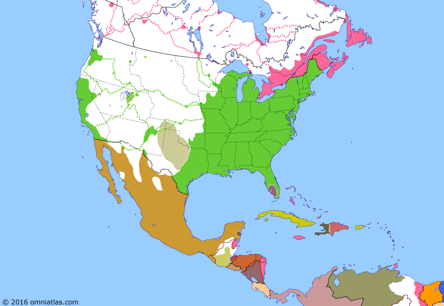 Political map of North America & the Caribbean 9 September 1850 (Compromise of 1850): With its population booming (California Gold Rush), California wanted to join the Union as a free state (Slave and free states) - naturally antagonizing the slave states. After lengthy debate, the Compromise of 1850 was agreed upon: California would be accepted as a free state and the newly created territories of Utah and New Mexico would be allowed to vote on the issue of slavery. Texas also agreed to abandon its substantial claims in the Mexican Cession in return for the payment of its debts.