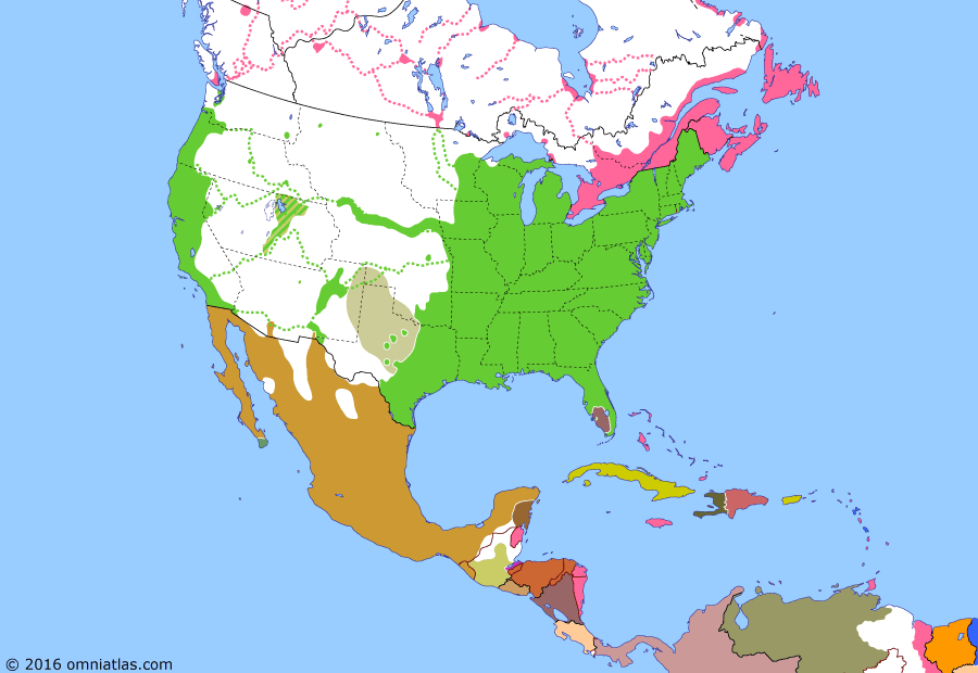 Political map of North America & the Caribbean on 30 Dec 1853 (Manifest Destiny: Gadsden Purchase), showing the following events: Washington Territory; Santa Anna's last presidency; Republic of Lower California; Gadsden Purchase.