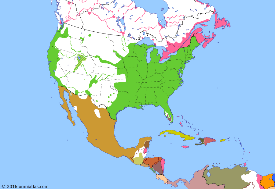Political map of North America & the Caribbean on 02 Apr 1857 (Manifest Destiny: Filibuster War), showing the following events: Third Seminole War; Filibuster War; Dred Scott case; Henry Crabb's Sonora expedition.