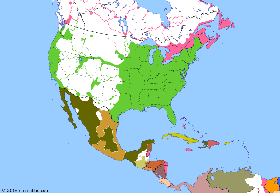 Political map of North America & the Caribbean on 29 Sep 1858 (Manifest Destiny: Mexican Reform War), showing the following events: Utah War; Conservative coup in Mexico; Mexican Liberals back Juárez; Minnesota becomes US state; Pike's Peak Gold Rush; Colony of British Columbia.