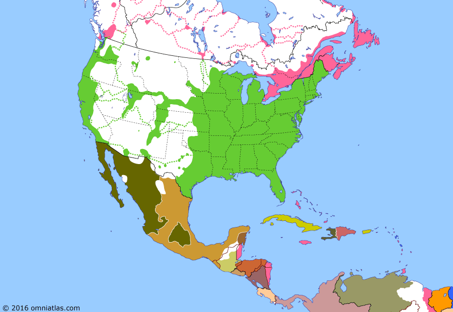 Political map of North America & the Caribbean 18 October 1859 (Raid on Harpers Ferry): The 1850s conflict in the US over slavery (Abolitionism in the United States) was not limited to Kansas (Bleeding Kansas). In 1859, the abolitionist John Brown (John Brown (abolitionist)) and his followers attempted to start a slave revolt in Virginia by seizing the arsenal at Harpers Ferry (John Brown's raid on Harpers Ferry). Although he was defeated, Brown's raid and his subsequent execution further polarized the nation.
