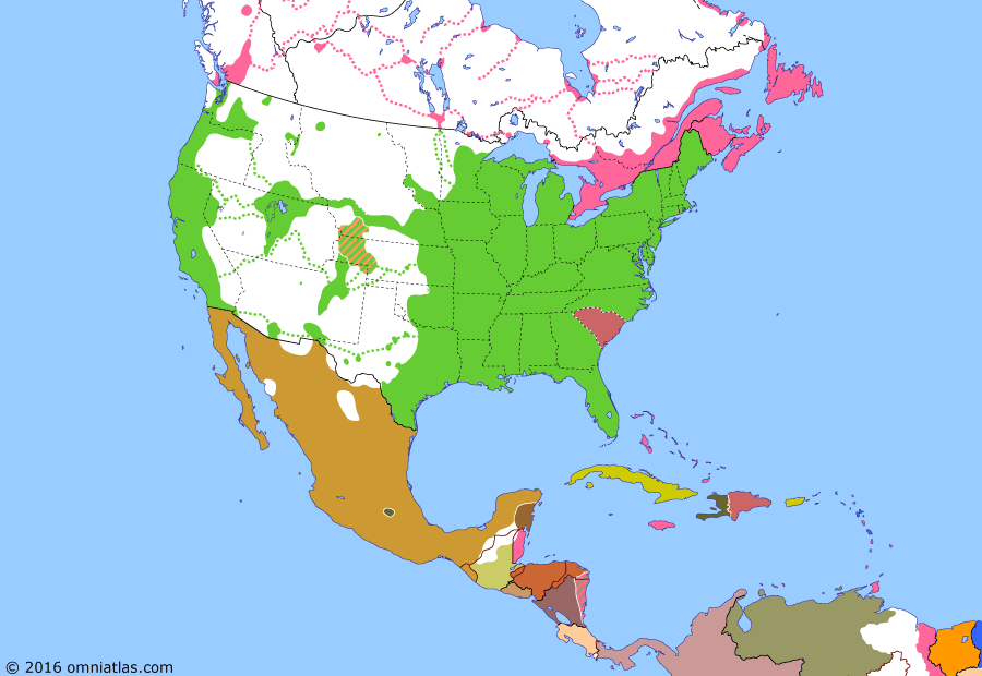 Political map of North America & the Caribbean on 20 Dec 1860 (American Civil War: Secession of South Carolina), showing the following events: Jefferson Territory; Treaty of Comayagua; Treaty of Managua; Second siege of Veracruz fails; Battle of Anton Lizardo; Battle of Silao; 1860 US Presidential Election; Secession of South Carolina.
