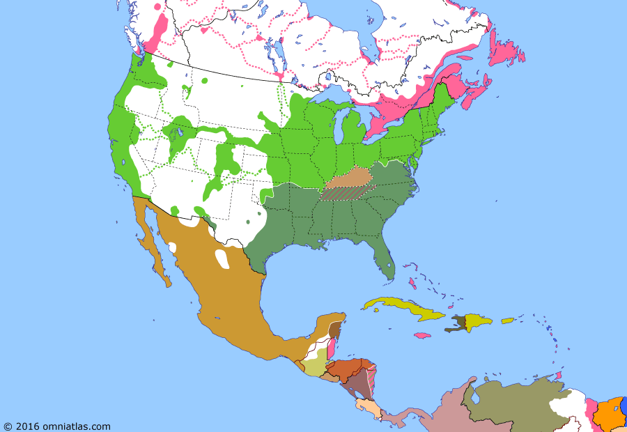 Political map of North America & the Caribbean on 21 Jul 1861 (American Civil War: First Battle of Bull Run), showing the following events: Virginia votes to secede; Union blockade declared; Arkansas secedes; Kentucky declares neutrality; North Carolina secedes; Pro-Confederate Missouri governor flees; Tennessee secedes; Battle of Bull Run.