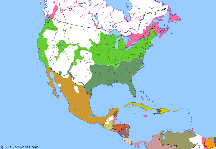 Political map of North America & the Caribbean on 07 Apr 1862 (American Civil War: Battle of Shiloh), showing the following events: British & French arrive in Mexico; US takes Forts Henry & Donelson; Battle of Hampton Roads; New Mexico Campaign; Peninsula Campaign begins; Battle of Glorieta Pass; Battle of Shiloh.
