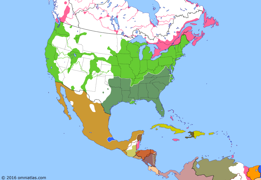 Political map of North America & the Caribbean on 17 Sep 1862 (American Civil War: Battle of Antietam), showing the following events: French repulsed at Puebla; British Honduras formed; Seven Days Battles; Northern Virginia Campaign; Dakota War; Battle of Antietam.