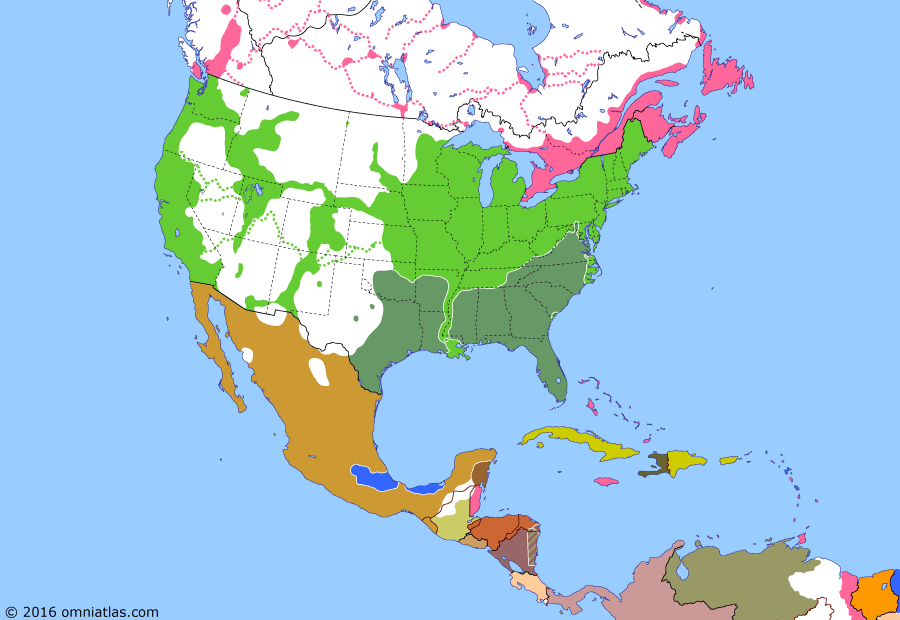 Political map of North America & the Caribbean on 04 Jul 1863 (American Civil War: Vicksburg and Gettysburg), showing the following events: Battle of Chancellorsville; Siege of Vicksburg; French enter Mexico City; West Virginia becomes US state; Battle of Gettysburg.