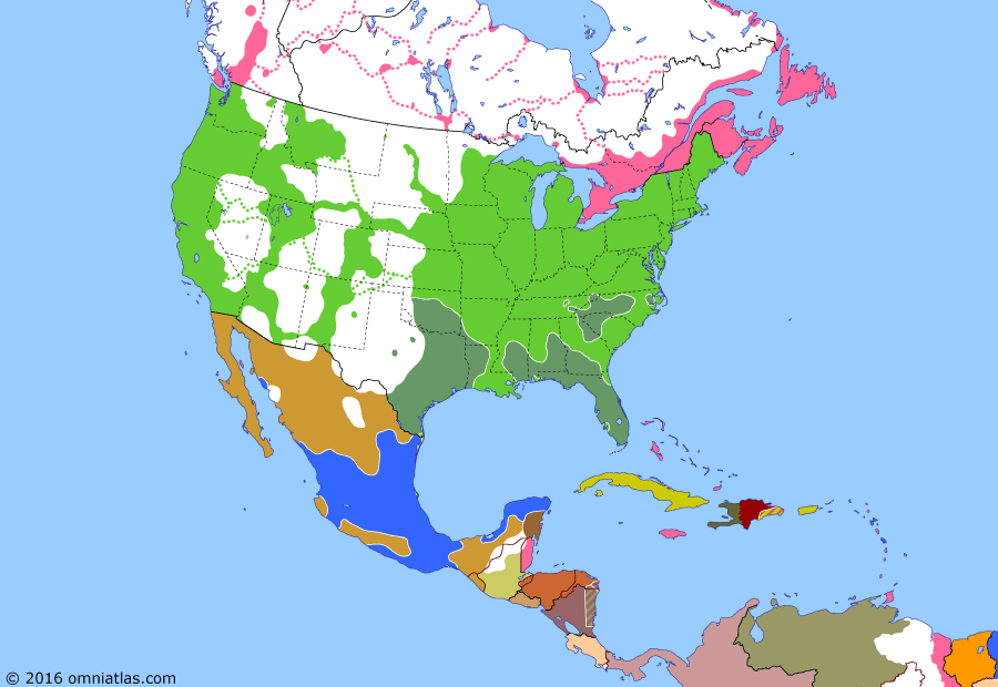 Political map of North America & the Caribbean on 09 Apr 1865 (American Civil War: Surrender of Army of Northern Virginia), showing the following events: Carolinas Campaign; Spain accepts Dominican independence; Confederates abandon Richmond; Surrender of Robert E Lee.