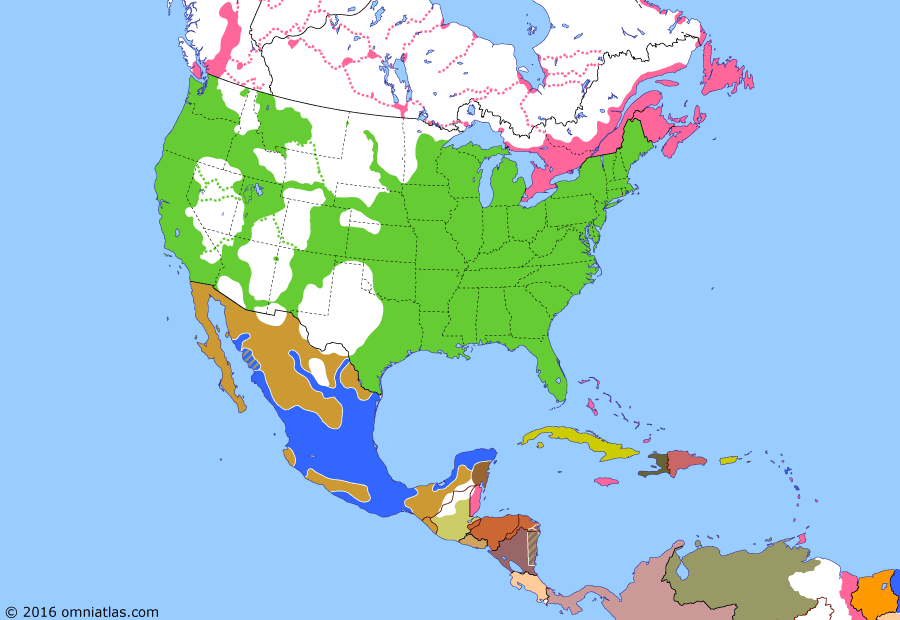 Political map of North America & the Caribbean on 22 Jan 1866 (Closing the Frontier: French withdrawal from Mexico), showing the following events: Assassination of Abraham Lincoln; Confederacy dissolved; Johnson's May 9 Declaration; Last Confederate forces surrender; French capture Chihuahua; Napoleon III declares victory in Mexico.