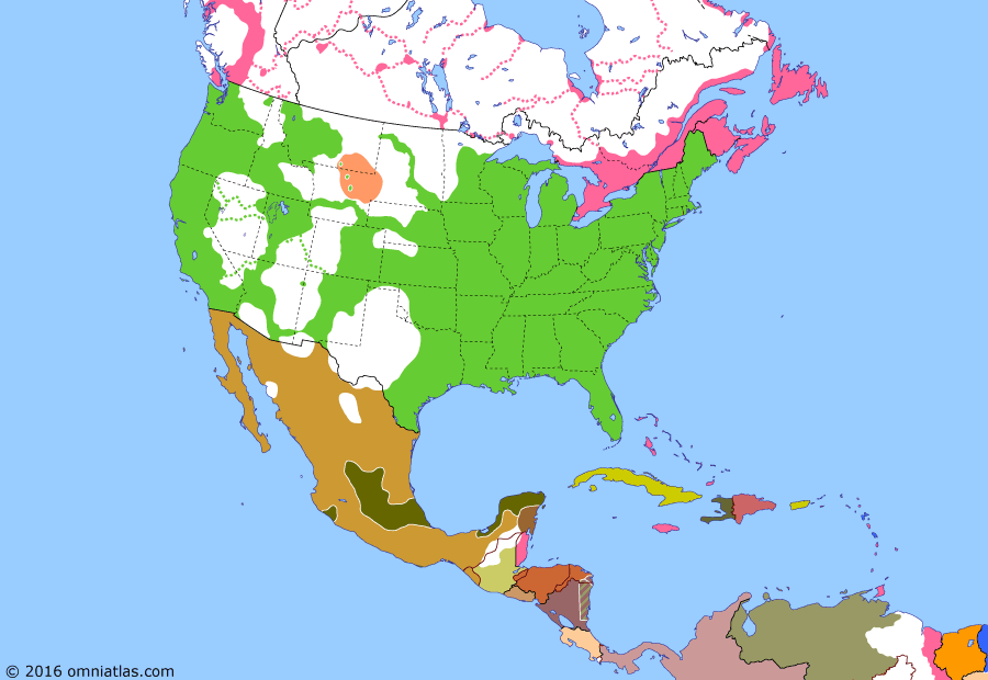 Political map of North America & the Caribbean on 21 Dec 1866 (Closing the Frontier: Red Cloud's War), showing the following events: Battle of Chihuahua; French withdrawal from Mexico; Niagara Raid; Red Cloud's War breaks out; Reconstruction; United British Columbia colonies.