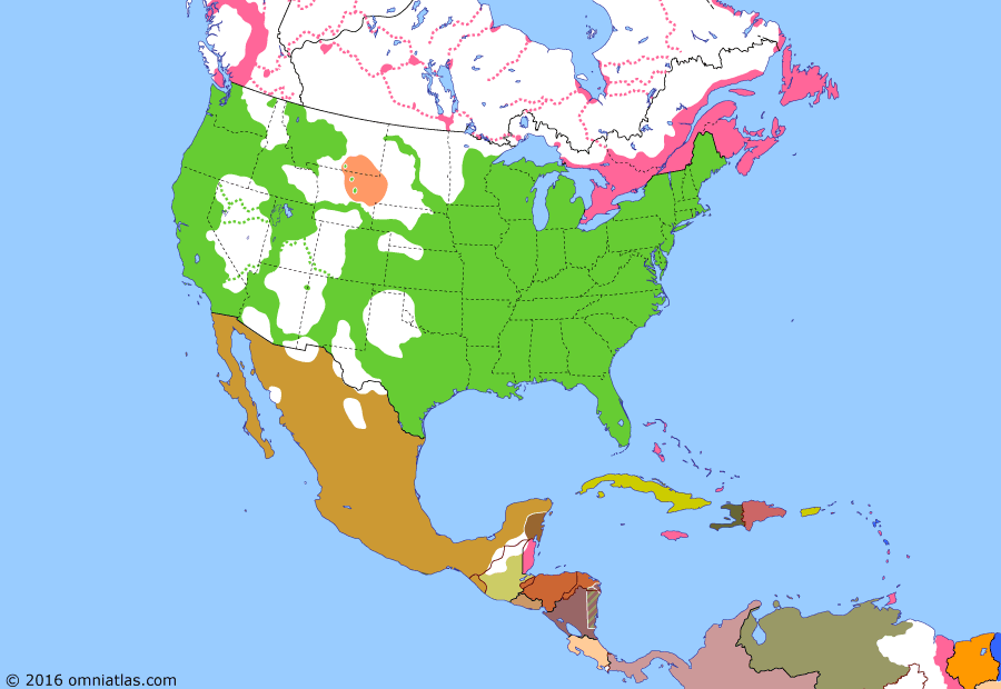 Political map of North America & the Caribbean on 01 Jul 1867 (Closing the Frontier: Canadian Confederation), showing the following events: Nebraska becomes US state; Alaska Purchase; Siege of Mexico City; Execution of Maximilian; Canadian Confederation.