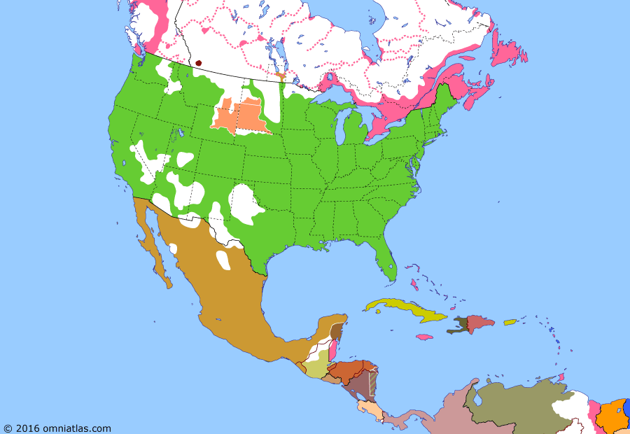 Political map of North America & the Caribbean on 15 Jul 1870 (Closing the Frontier: Rupert's Land Act), showing the following events: Transfer of Alaska; Treaty of Fort Laramie; Wyoming Territory; Pacific Railroad opens; Red River Rebellion; Battle of Eccles Hill; Manitoba Act; Rupert's Land Act takes effect.